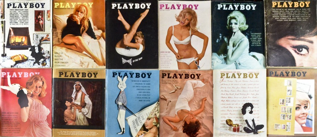 Vintage 1964 Playboy Magazine Collection- Lot Of 13