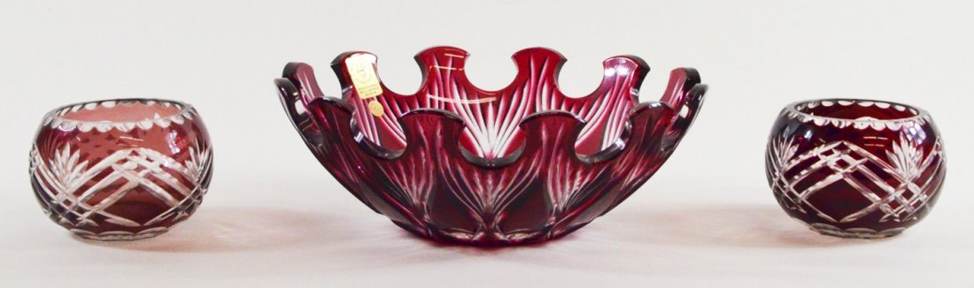 Lot of 3  Bohemia Red Cut Crystal Bowls