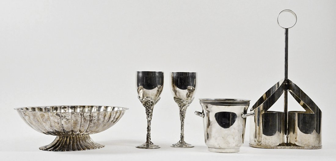 5 Pc Silver Plated Wine Set