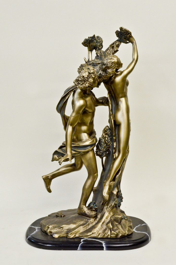 """Apollo and Daphne"" Statue on Wooden Stand 27""Tall"