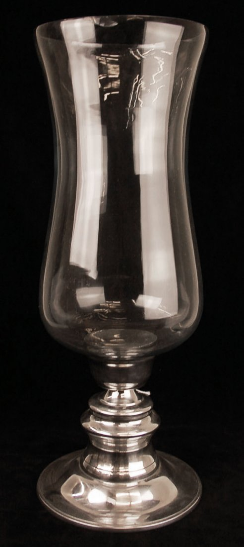 """Silver Tone and Glass Hurricane Candle Holder 24""""Tall"""