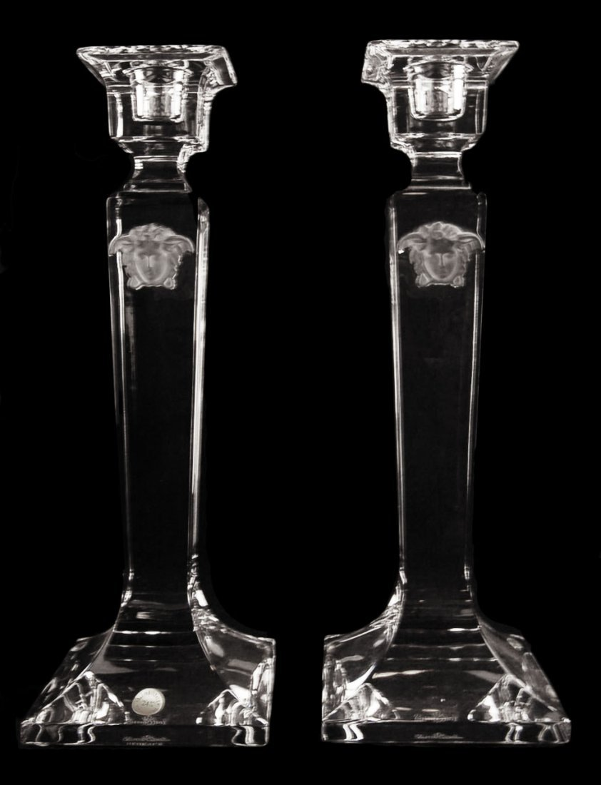 Pair of Rosenthal Versace Medusa Candle holder