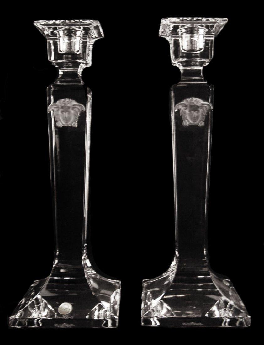 "Pair Versace Medusa Gorgona Candleholder 10"""