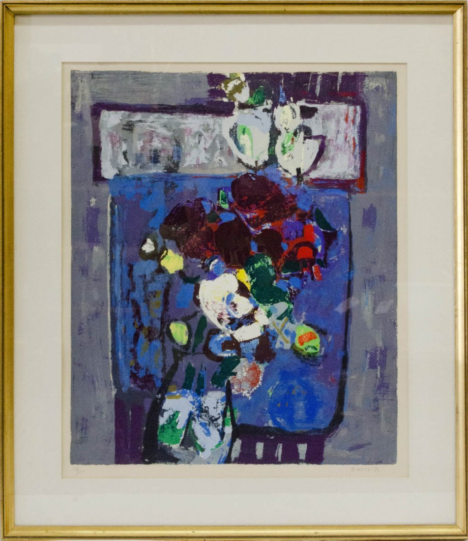 """Flowers in Blue by Zvi Mairovich Signed 31""""Tall"""