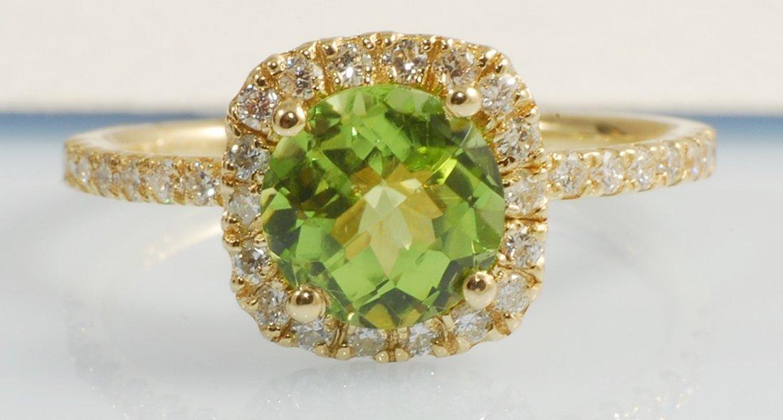 1.84ct Peridot and Diamond Ring