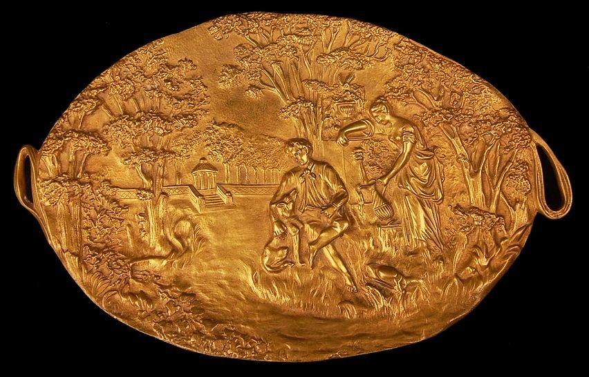 """Vintage Heavy Brass High Relief Platter 21"""""""