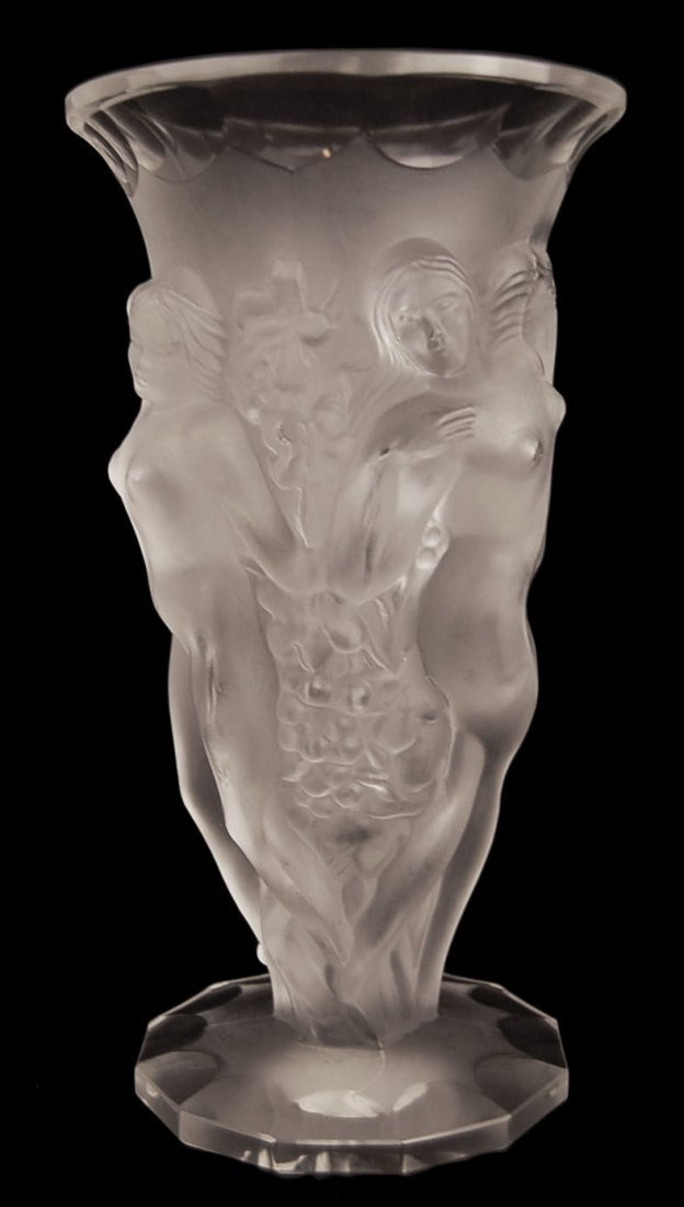 """Frosted Crystal Vase in the Manner of Lalique 8.5"""""""