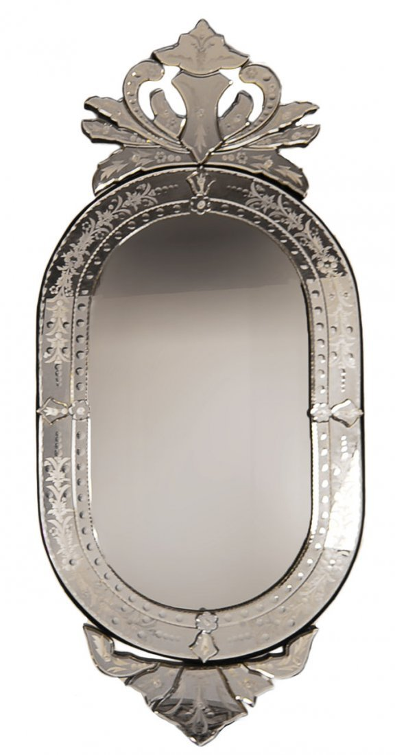 """56"""" Ornate Venetian Mirror Beveled & Etched Glass"""