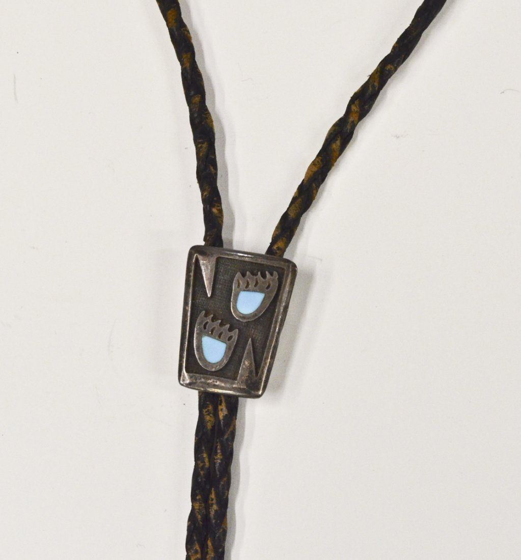 Navajo Bennett Pat Pend. Bolo Sterling w/ Turquoise,