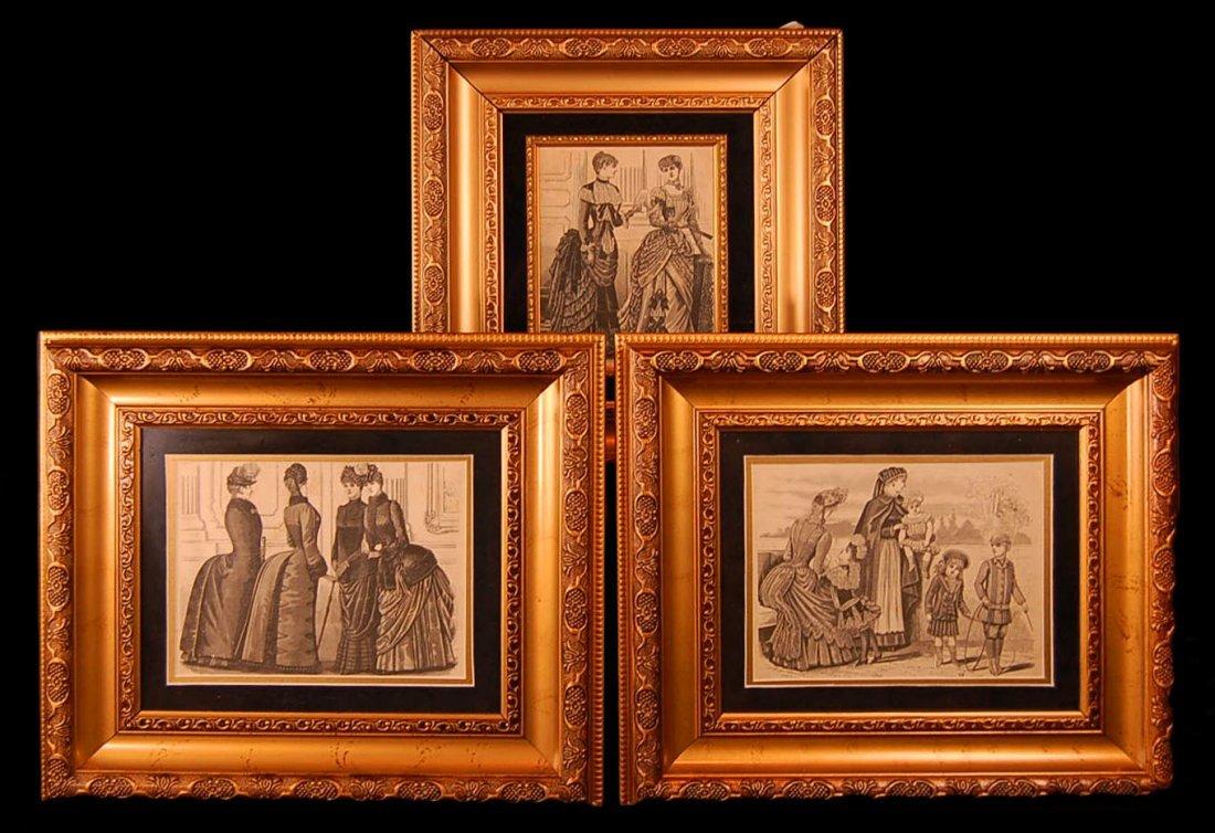 3 Antique Framed Gardet Fashion Engraving/Prints