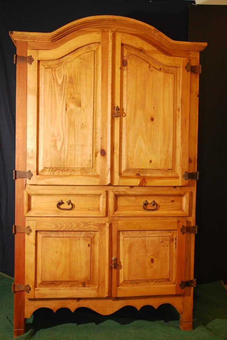 Hand Carved Solid Pine Armoire