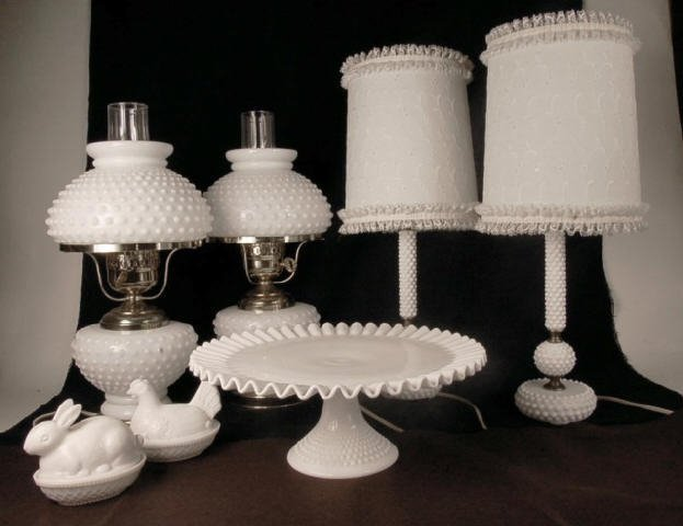 Milk Glass Hobnail Lamps, Cake Platter and Chicken