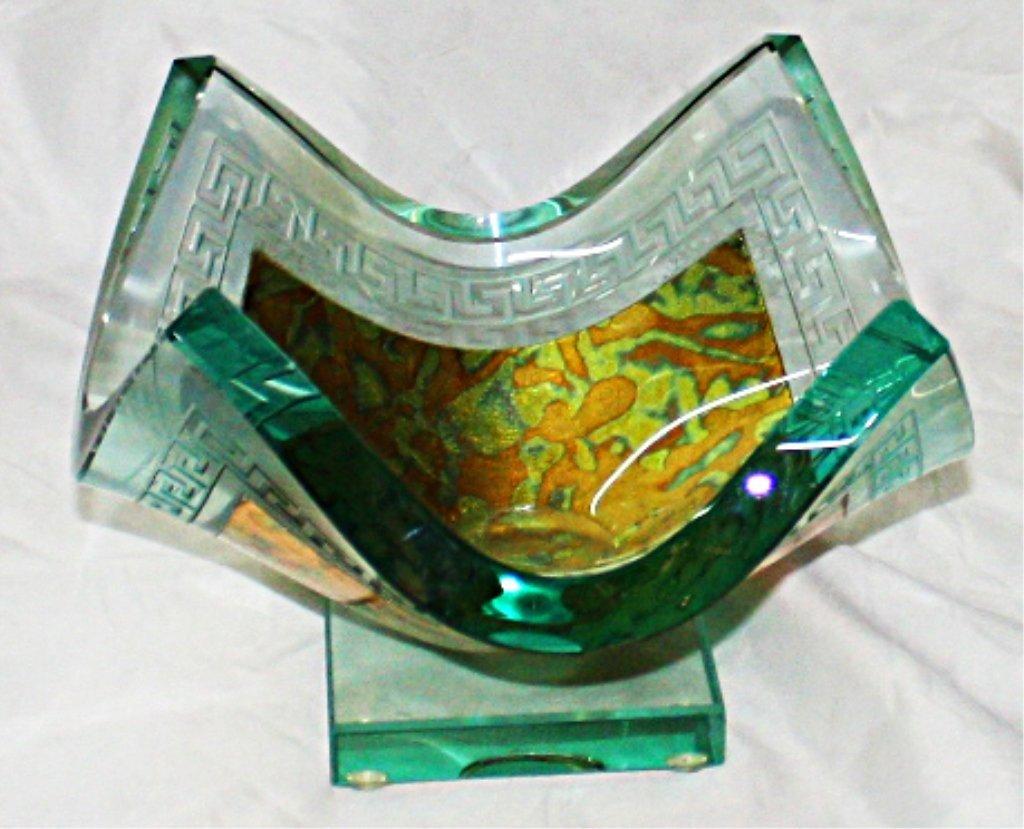 Olga P. Original 23Kt Gold and Crystal Vase. Signe Olga