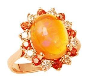 0.37ct  Diamonds, 0.46 ct Sapphire, 2.80 ct Opal 4.20