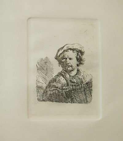 "Amand Durand after Rembrandt ""Self Portrait in a Flat"