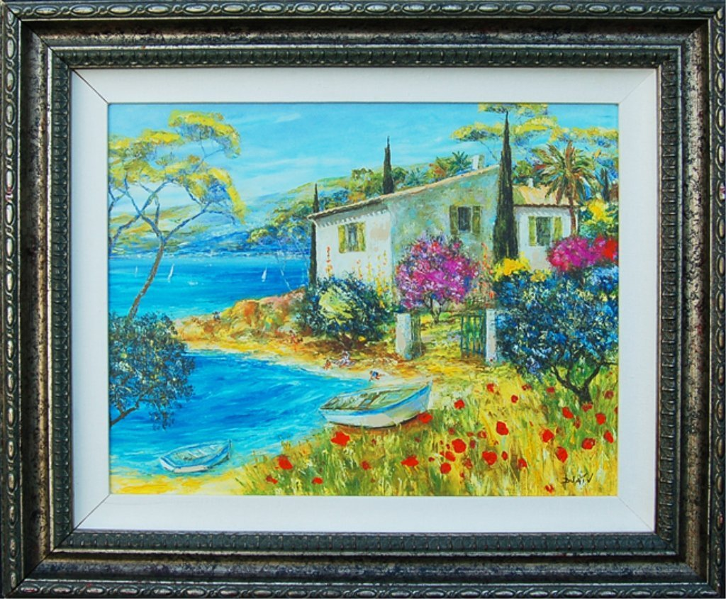 Signed Duaiv Giclee on Canvas Ocean Side Cottage