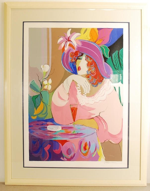 """Isaac Maimon """"Champagne Girl"""" Pencil Signed"""