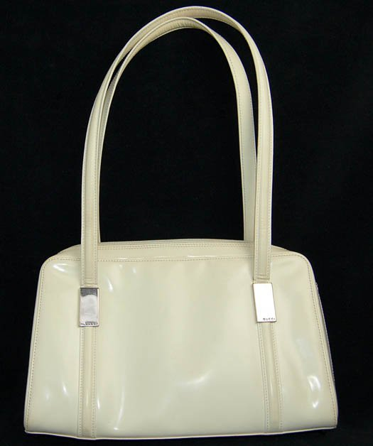 Ivory Tone White Gucci Vinyl Hand Bag/Purse