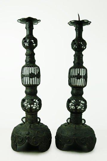 "Pair Antique Candle Holder 21"" x 6"""
