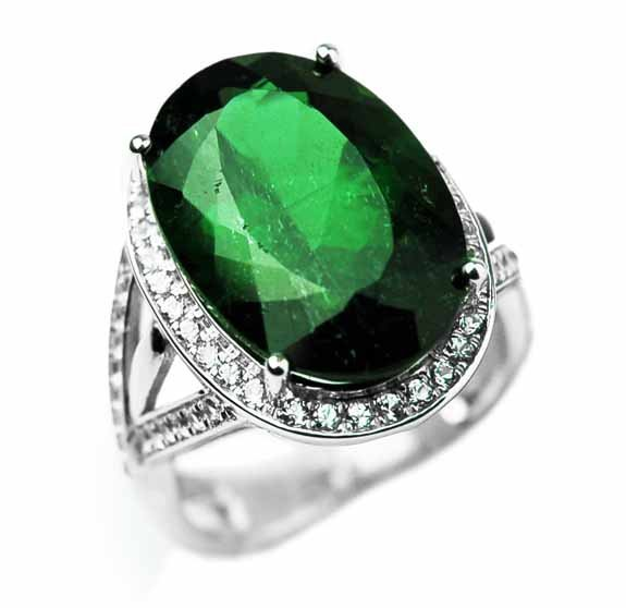10.60ct Green Tourmaline & 1.43 W Topaz Ring
