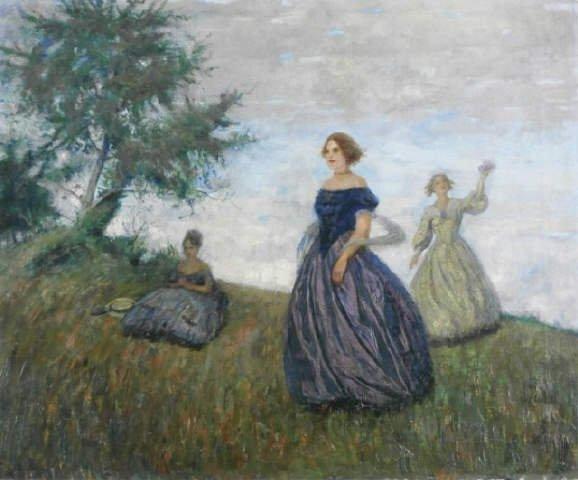Otto Herschel, Three Woman, Original Oil on Canvas