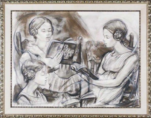 Sheldon Shoneberg, Three Girls Reading, 1965,