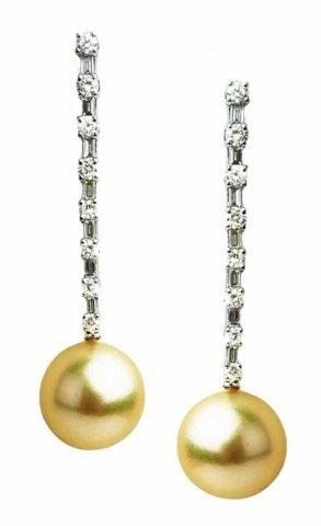 0.76ct Diamonds & 11mm Pearl Earrings 18K WG