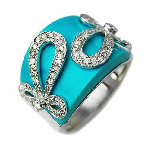 0.47 Carat Turquoise and Diamond Ring