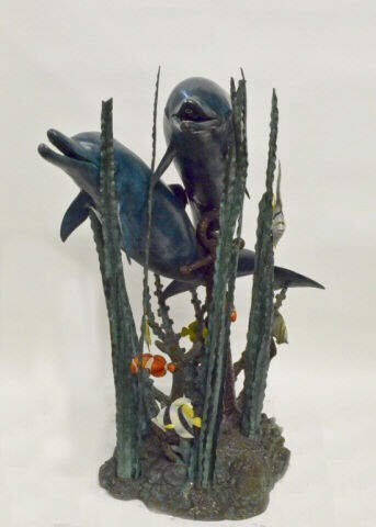 """Two Dolphins in the Sea Bronze Fountain 40""""Tall"""