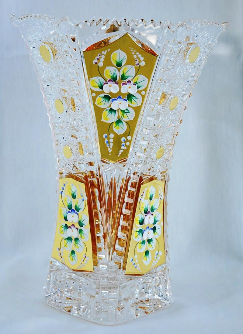 "Czech Bohemian Crystal Enamel Vase 24K 10.5""H"