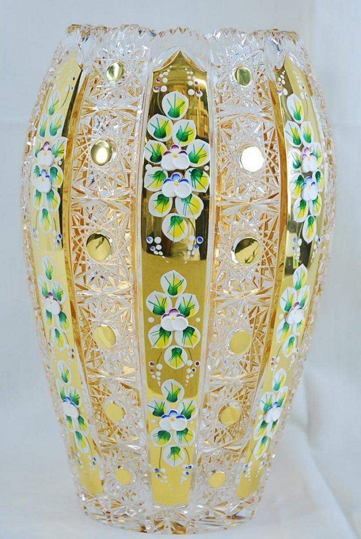 "Czech Bohemian Crystal Enamel Vase 24K 12"" H"