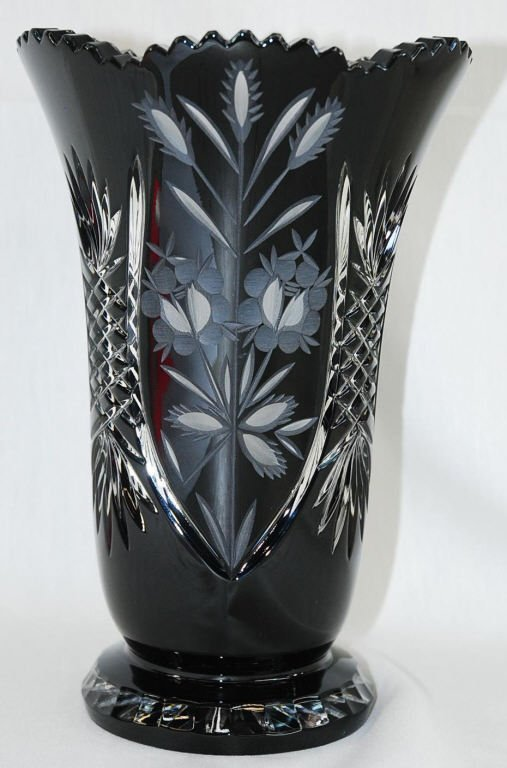 "Bohemia Czech Hand Cut Black Crystal Vase 10""H"