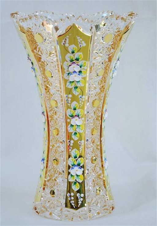 Czech Bohemian Crystal Enamel Vase 24k 10h
