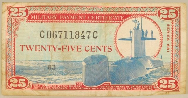 MPC Military Payment Certification 25cents Note