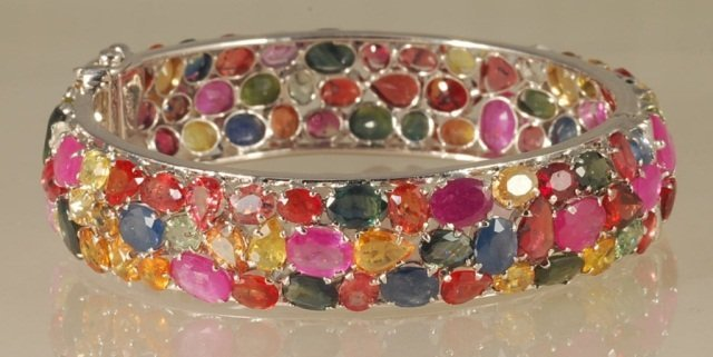 40ct Multi-Colored Sapphire Bangle