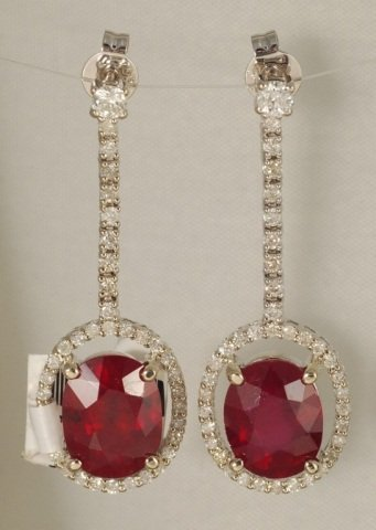 7.75 Carat Madagascar Ruby and Diamond Earrings