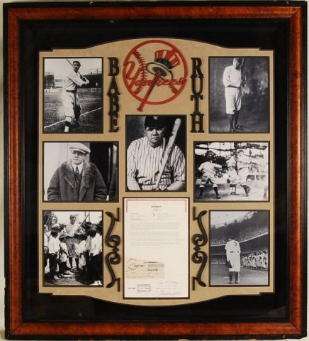 Babe Ruth Collage with Payroll Stub