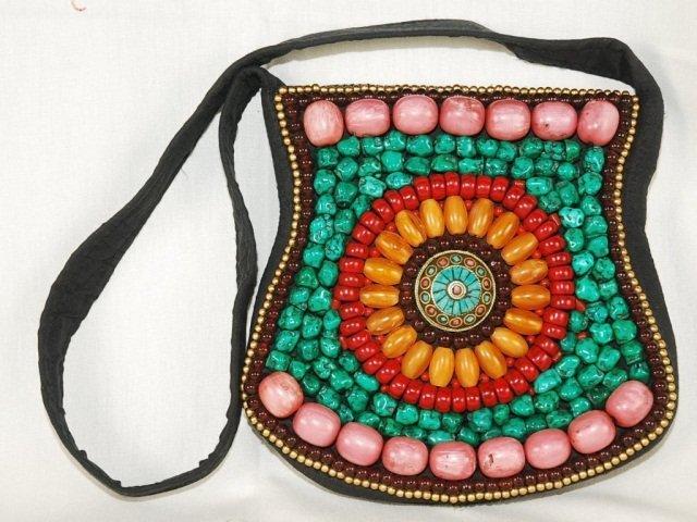 Handmade Turquoise, Red Coral & Beads Tibetan Bag