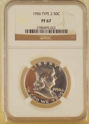 Franklin Half Dollr Silver Coin 1956Type2 50C PF67