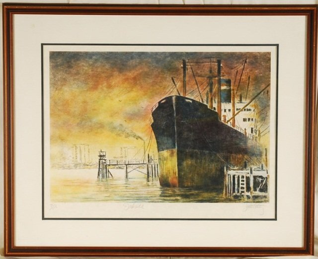 John Kelly, Dockside, Hand Signed & Numbered Litho