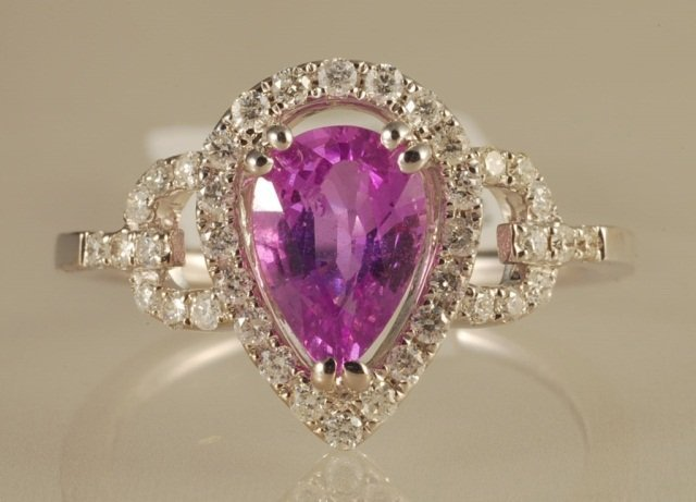 1.84ct Violet Sapphire and Diamond Ring in White G