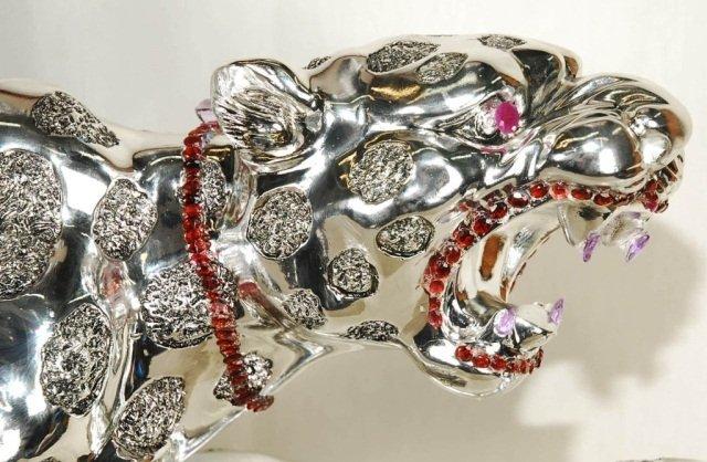 One of a Kind Gemstones Adorned Leopard