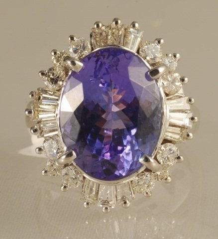 9.45ct Tanzanite and Diamond Ring in White Gold