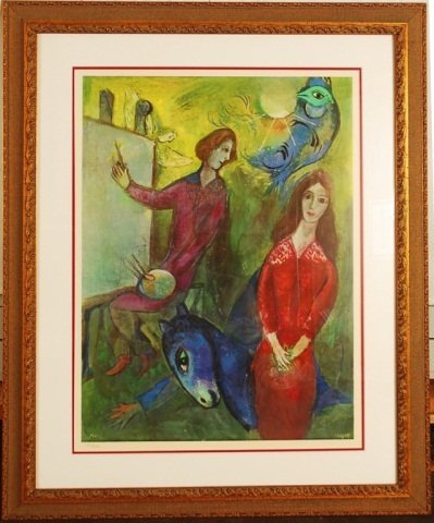 """Marc Chagall, """"Artist and Model"""""""