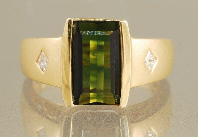 3.12ct GREEN TOURMALINE & DIAMOND RING