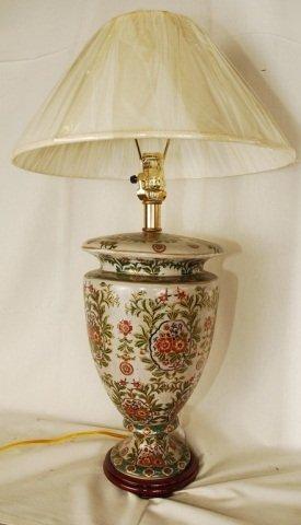 """14"""" Porcelain Lamp Floral Motif"""