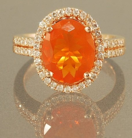 2.6ct  FIRE OPAL AND DIAMOND RING