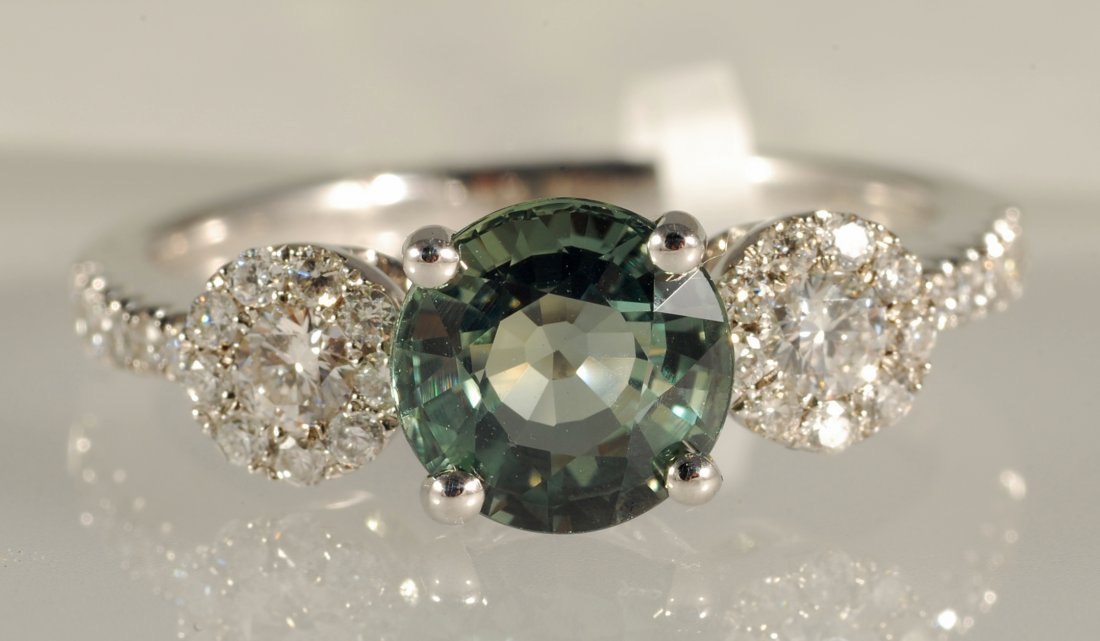 2.13 ct Celeone Sapphire and Diamond Ring