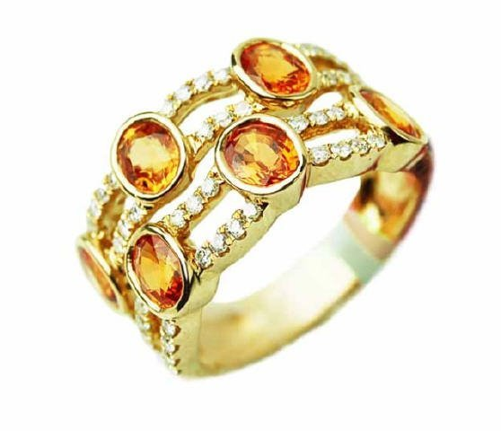2.92 Carats Diamond and Yellow Sapphire Ring