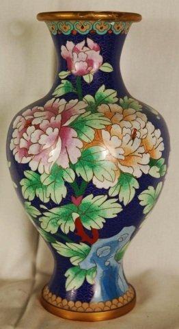 """Vintage Blue Cloisonne Vase Floral Motif 12""""H"""